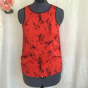 Kensie - Vibrant Orange Red and  Black Tank Top